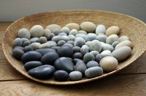 basket with pebbles
